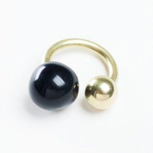 Dna anello ceramica nera oro ottone